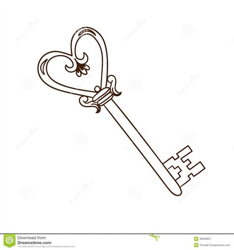 romantic heart shaped key isolated on white stock vector