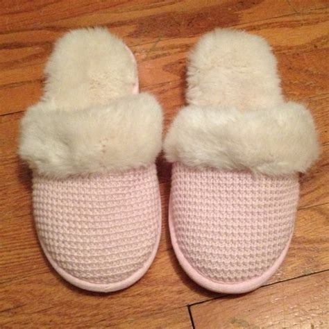 victoria secret house shoes victoria s secret waffle knit fuzzy slippers from jenn s closet on poshmark