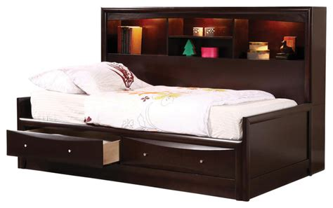 bookcase daybed with storage cappuccino maple veneers phoenix full daybed w bookcase