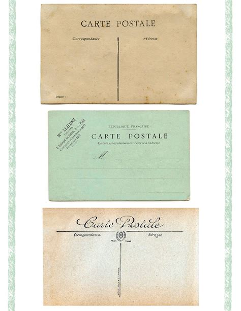 printable french postcards vintage printable blank carte postale postcard backs