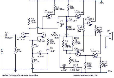 100 w subwoofer lifier circuit amplifier circuit diagram