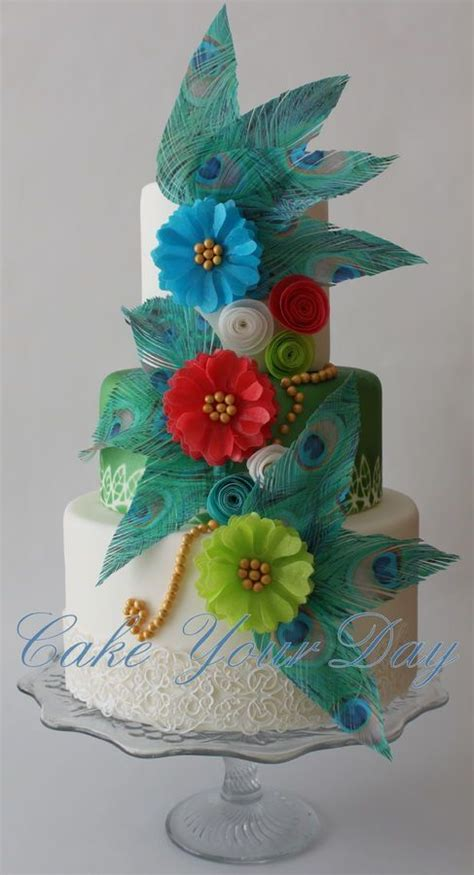 Peacock Feather Cake Decorations by Peacock Feathers And Flowers Cake