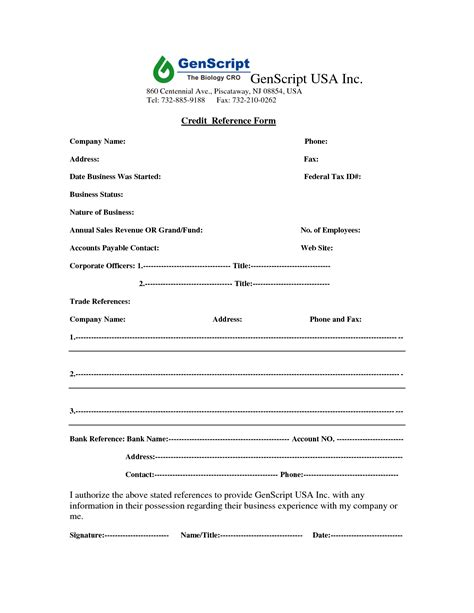 Credit Reference Forms Business Business Credit Reference Form Free Printable Documents
