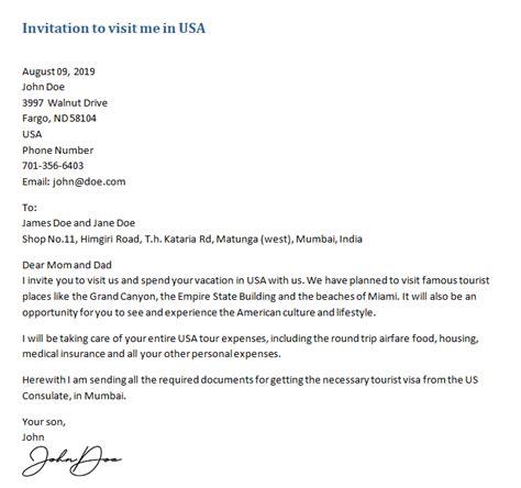 invitation letter   visa sample letters