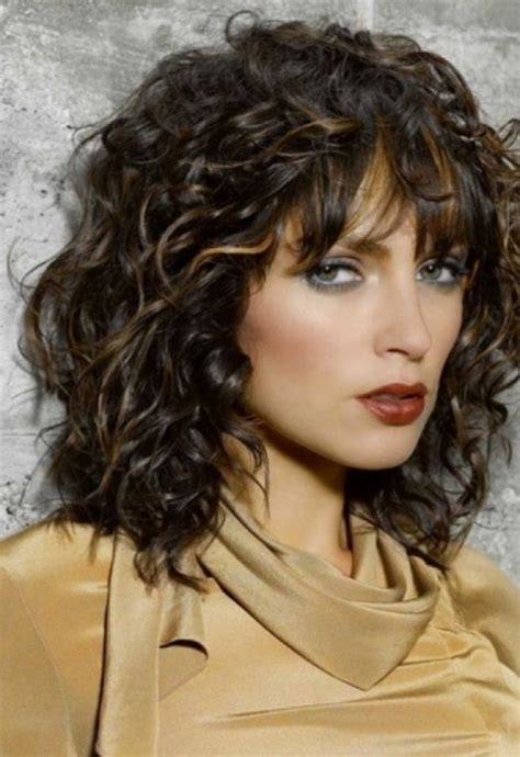 curly layered ear length hair styles sholder length curly bob with bangs cute short