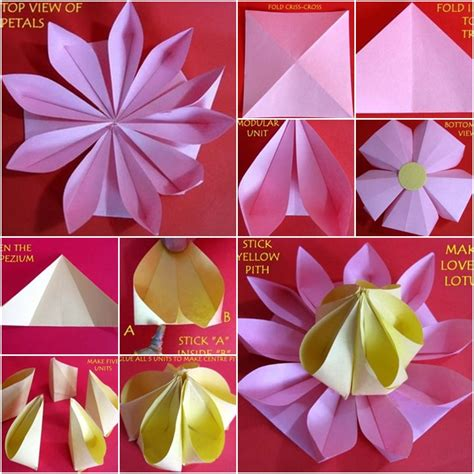 Lotus Flower Paper Folding - how to make lovely paper origami lotus fab diy