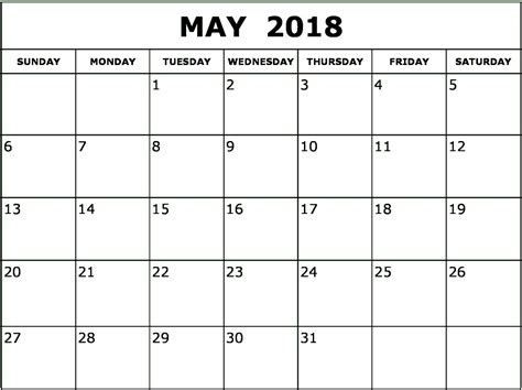 printable calendar for may 2018 may 2018 monthly calendar printable