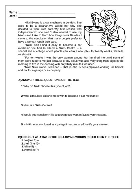 reading comprehension test adults worksheet reading comprehension worksheets for adults
