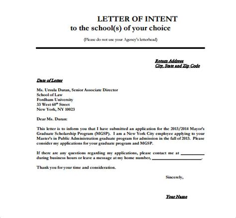 Letter Of Intent Sle For Application 8 school letter of intent templates free sle