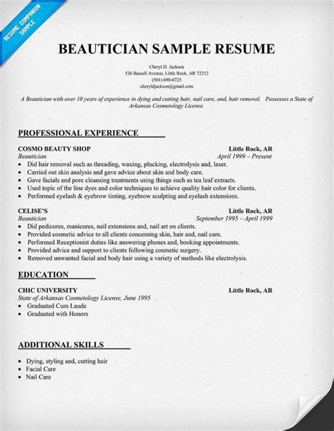 Resume Exles For Beautician Beautician Resume Exle Http Resumecompanion Resume Sles Across All Industries