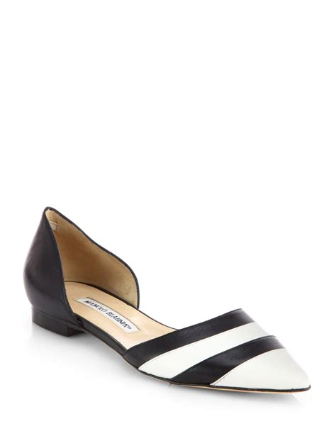 black and white flats shoes manolo blahnik soutri black white dorsay flats in white