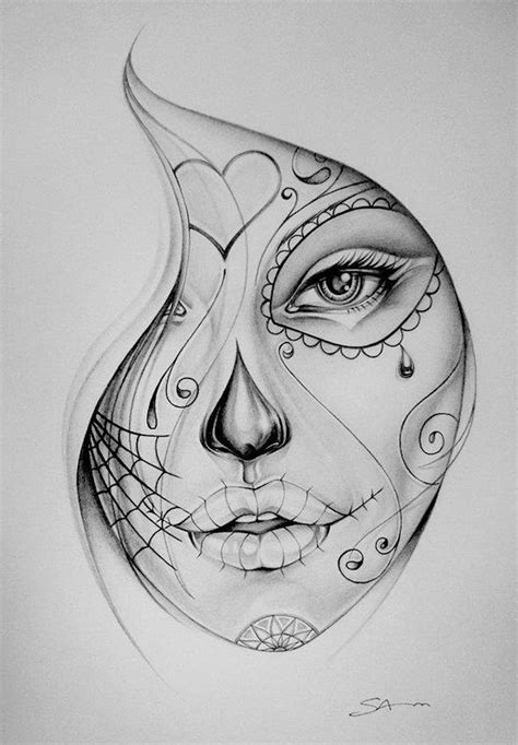 tattoo sketch sugar skull face inkme pinterest