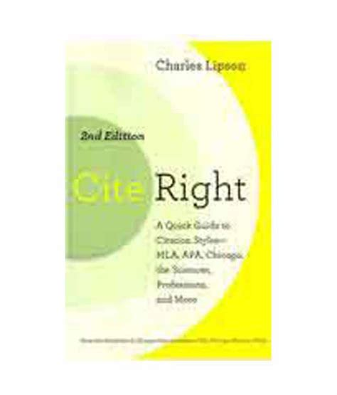 apa reference book second edition cite right second edition a guide to citation
