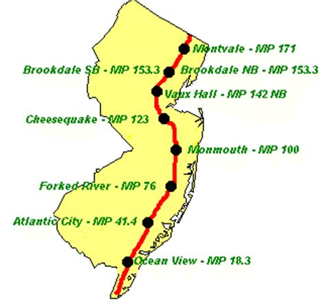 map of new jersey garden state parkway s hockey driving directions