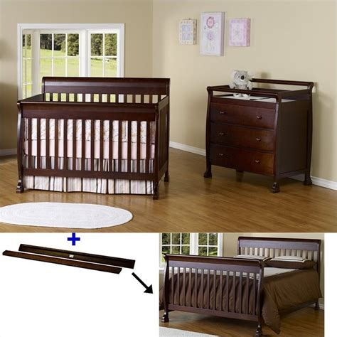 Baby Convertible Crib Sets Davinci Kalani 4 In 1 Convertible Crib Set With Toddler Rail In Espresso M5501q Cribset Pkg