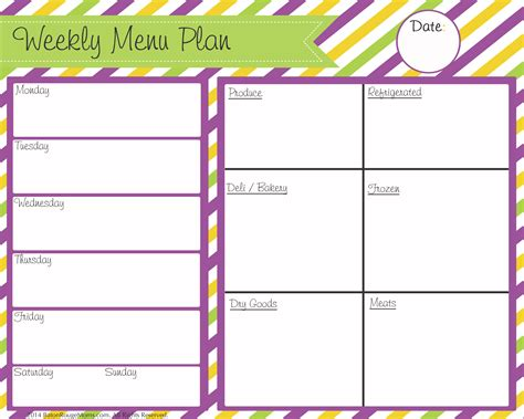 printable meal planner with snacks 6 best images of printable weekly menu chart free