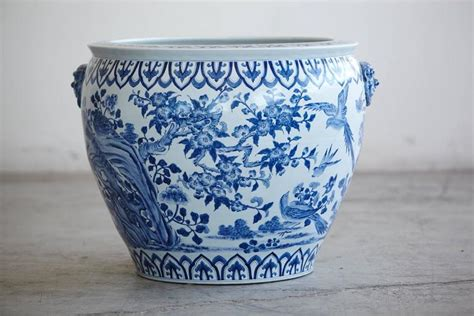 Large Blue And White Planter by Large Blue And White Porcelain Jardini 232 Re Or