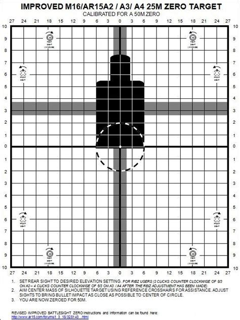 printable zero targets improved 25m ar15a2 a3 a4 ar15 carbine zero targets