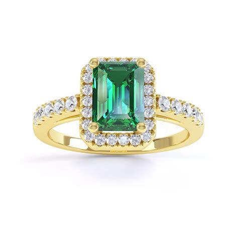 Emerald Cut by Princess Emerald And Emerald Cut Halo 18ct Yellow