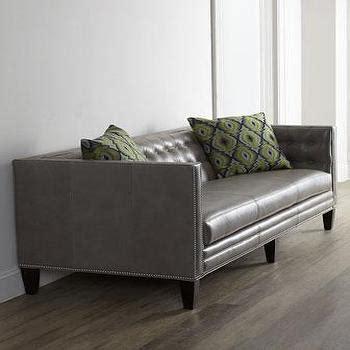 dove grey leather sofa chester leather sofa dwellstudio