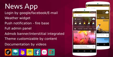 newspaper theme login news app material design firebase notification