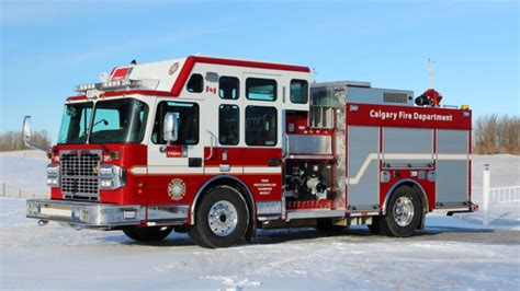 enclosed cafs pumper built  smeal delivered  calgary ab canada fire department