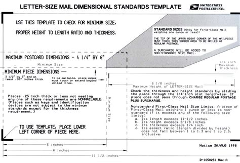 letter size mail dimensional standards template standardstemplate2
