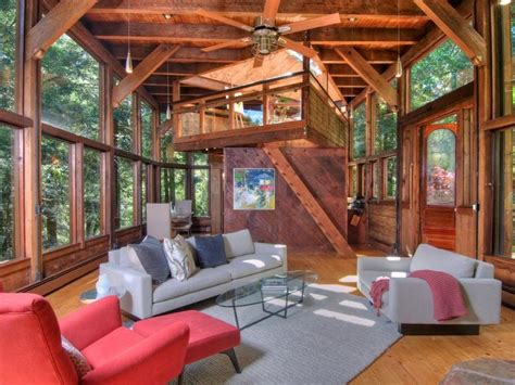living room treehouse modern cabinet tree house in the forest mill valley california