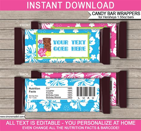 bar wrapper templates luau hershey bar wrappers personalized bars