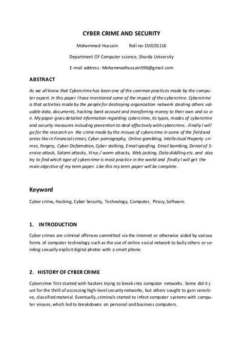 Research paper on cyber security.