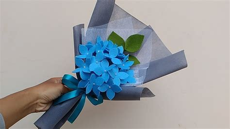 Buket Bunga Flanel Mini wrapping felt flower hydragea bouquet cara membungkus bunga flanel hydragea