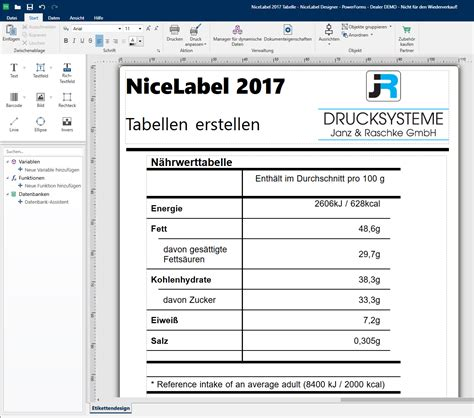 ck wert tabelle so erstellen sie tabellen mit nicelabel 2017 designerpro