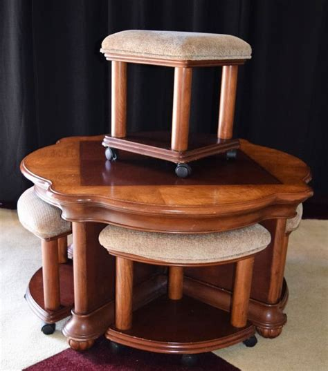 adjustable table height stools adjustable height table with nesting upholstered stools