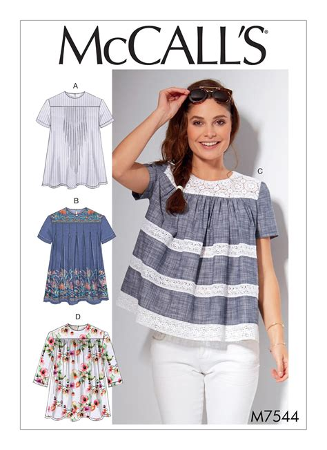 shirt pattern top mccall s 7544 misses pleated or gathered tops with yokes