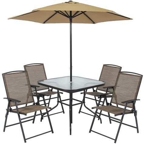 Patio Chair And Table Best Choice Products 6pc Outdoor Folding Patio Dining Set W Table 4 Chairs Umbrella And Built