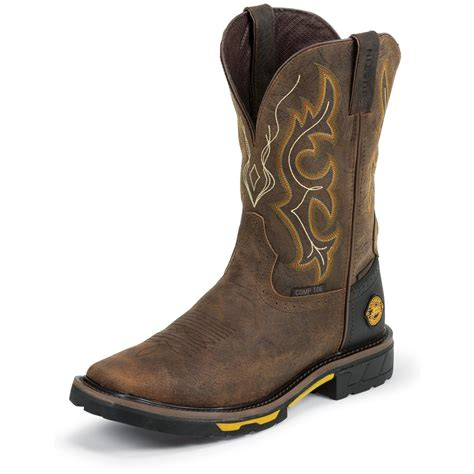 pull on boots s justin 11 quot hybred waterproof composition toe pull on