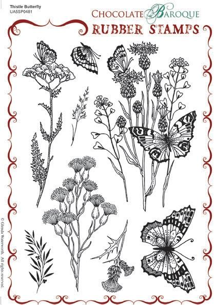 thistle rubber st chocolate baroque design team thistle butterfly