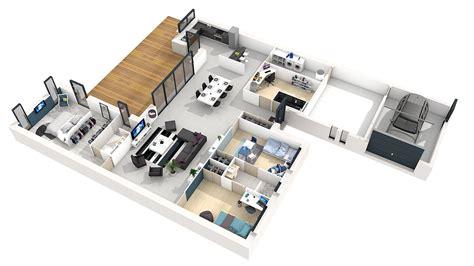 Plan Maison Moderne 3 Chambres by Plan De Maison Plain Pied 3 Chambres 3d