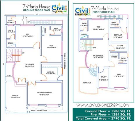 homes floor plans 7 marla house plans civil engineers pk