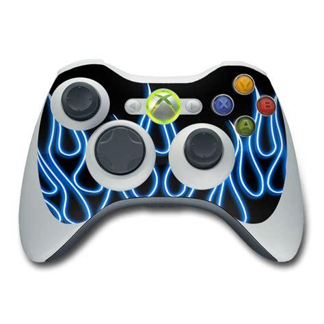 design xbox 360 controller blue neon flames xbox 360 controller skin covers xbox