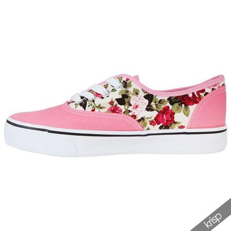 floral sneaker floral glitter slip on plimsolls trainers