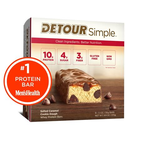 top rated protein bars salted caramel cookie dough detour whey protein bars