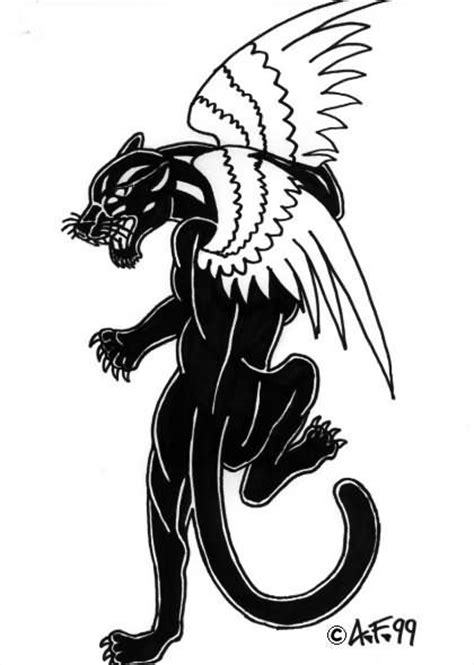 crawling panther tattoo black panther with wings
