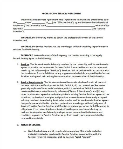 service agreement template service agreement 9 free pdf word documents