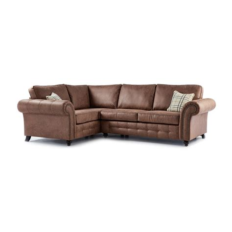 Corner Sofas In Leather Oakland Faux Leather Left Corner Sofa In Brown Just Sit On It
