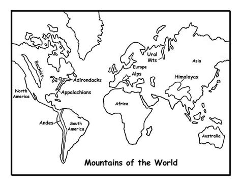 coloring page map of the world mountains of the world coloring page