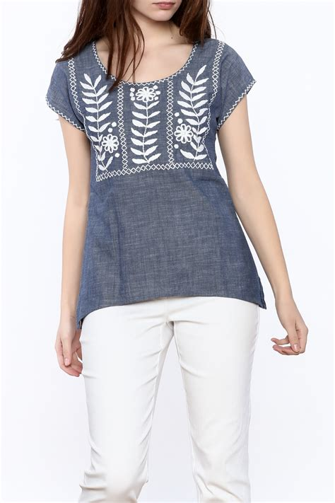 Top Five Chambray by Abrazo Style Rococo Chambray Top From Wisconsin By Change