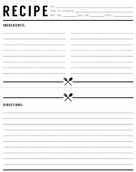 Free Black And White Recipe Card Template Word by Free Recipe Card Templates Invitation Template