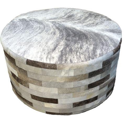 cowhide round ottoman gray round cowhide ottoman 36 inch