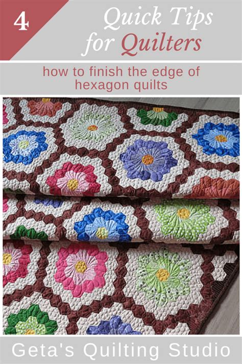 quilting tips how to finish the edge of hexagon
